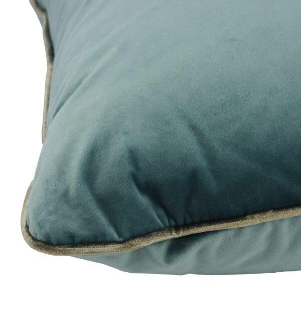 Coco Piped Velvet Cushions - Aqua ( Gold Trim )