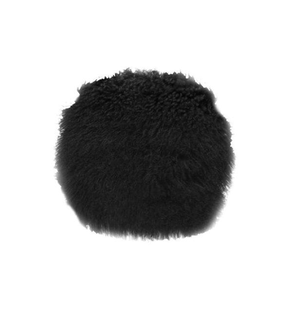 Tibetan Fur Round Cushion - Black