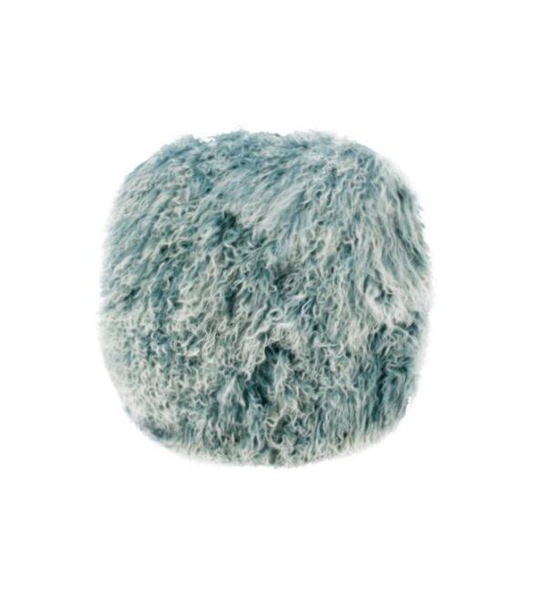 Tibetan Fur Round Cushion - Blue Snowflake