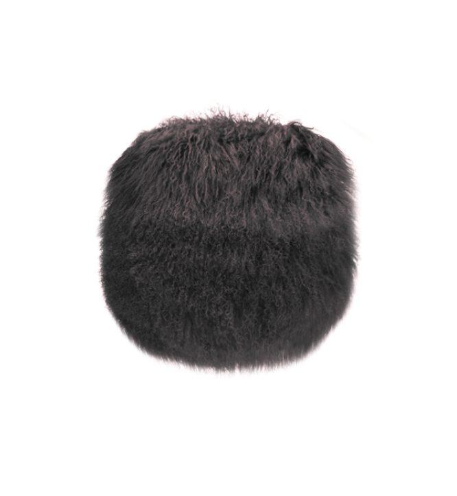 Tibetan Fur Round Cushion - Charcoal
