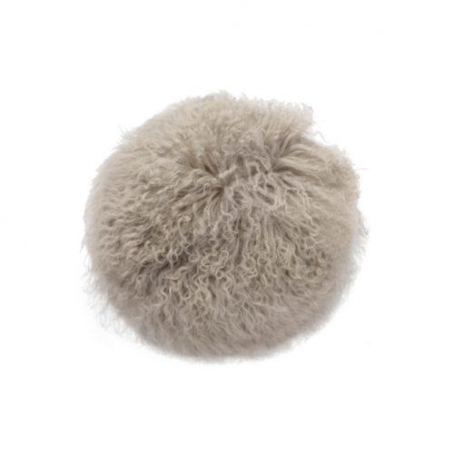 Tibetan Fur Round Cushion - Grey