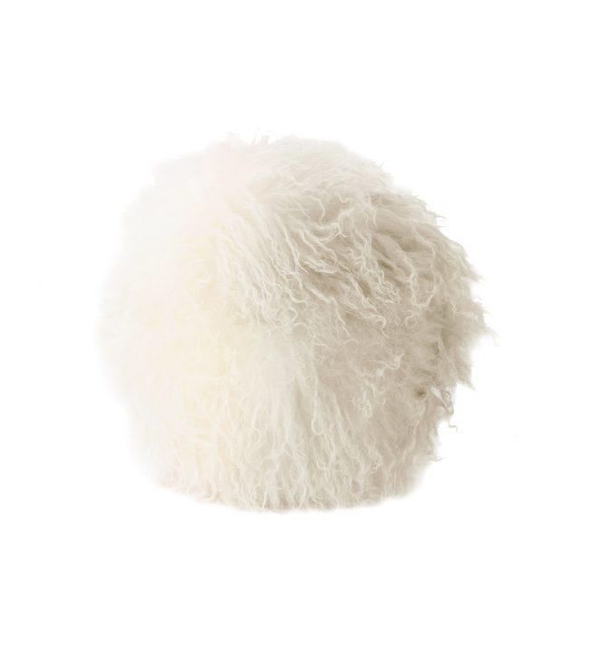 Tibetan Fur Round Cushion - Ivory Grey Ombre