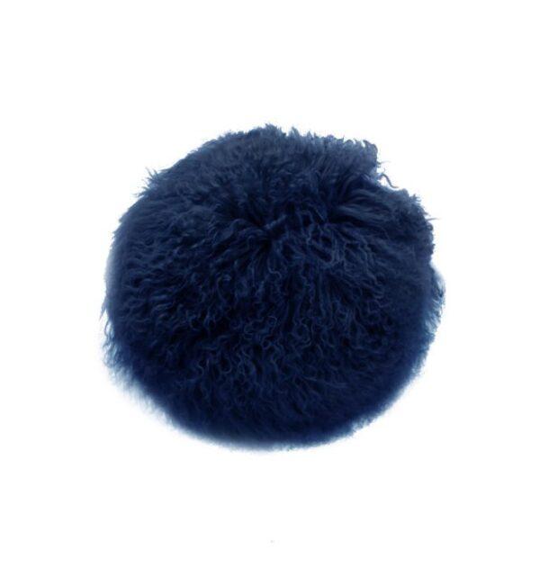 Tibetan Fur Round Cushion - Navy