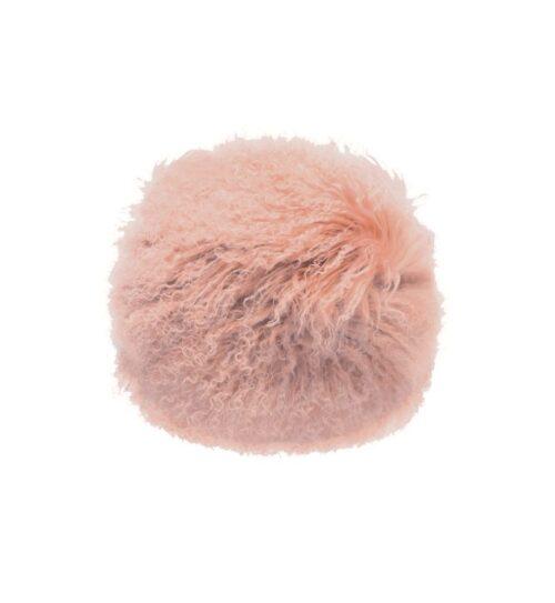 Tibetan Fur Round Cushion - Pink