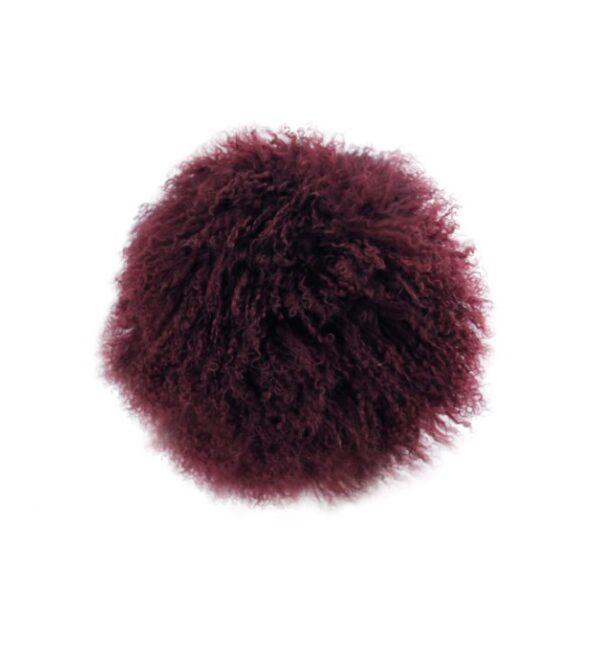 Tibetan Fur Round Cushion - Plum