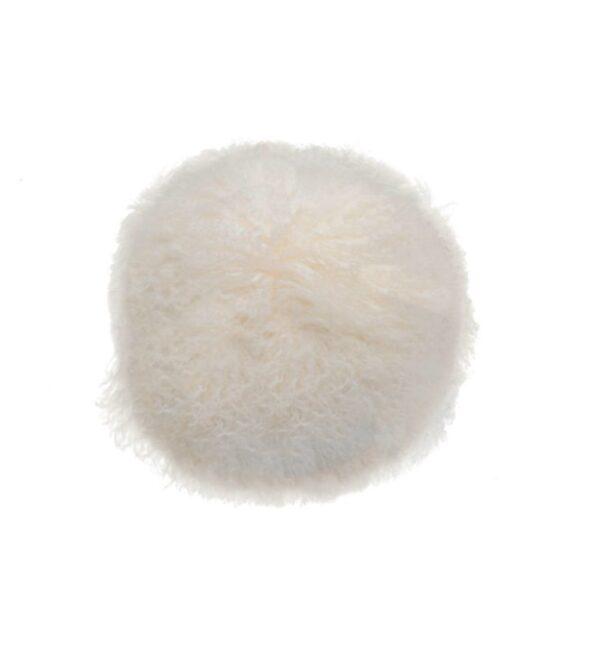 Tibetan Fur Round Cushion - White