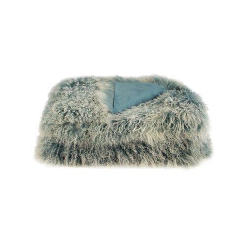 Tibetan Fur Throw - Blue Snowflake