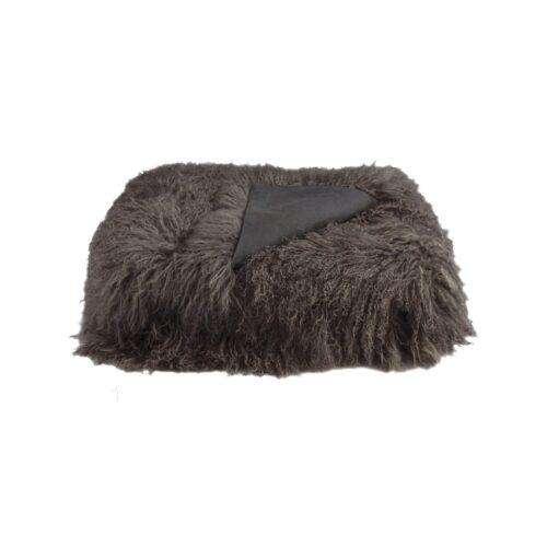 Tibetan Fur Throw - Charcoal
