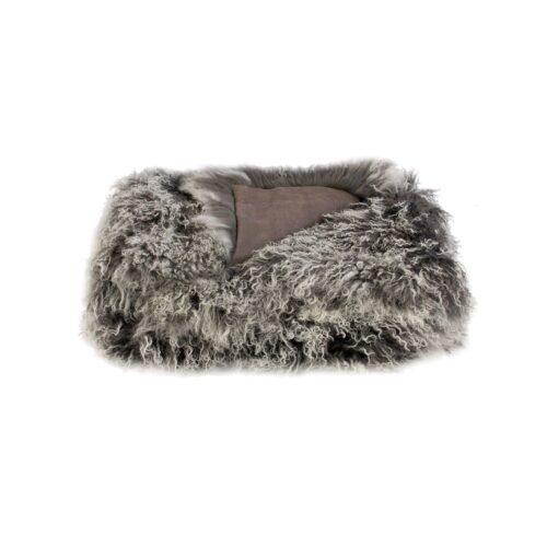 Tibetan Fur Throw - Charcoal Snowflake