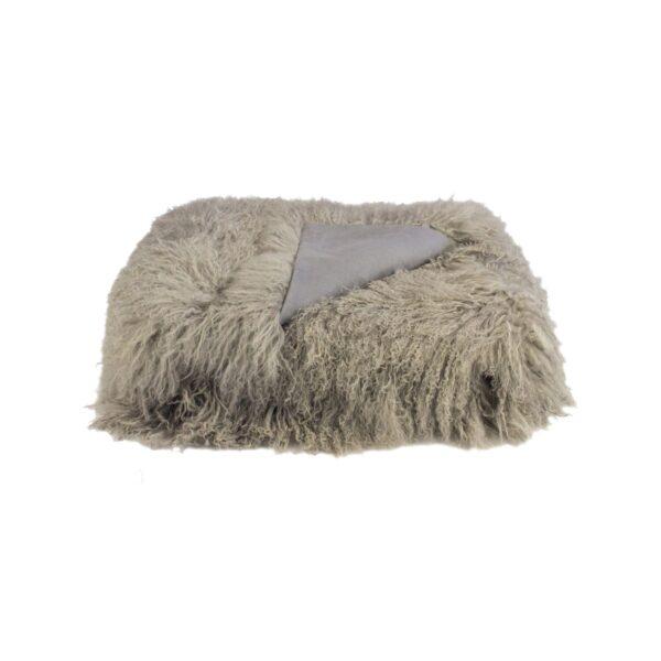 Tibetan Fur Throw - Grey