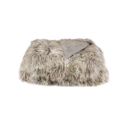 Tibetan Fur Throw - Grey Snowflake