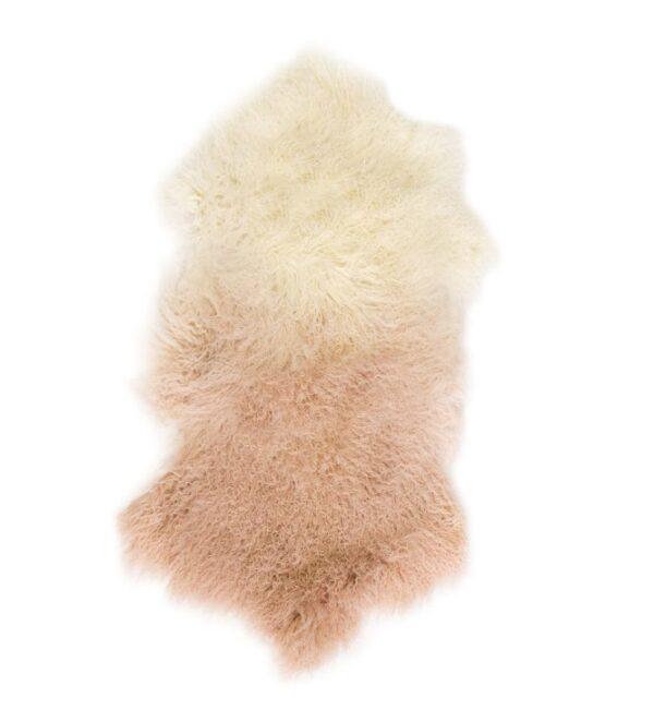 Tibetan Fur Hide - Ivory Blush Ombre