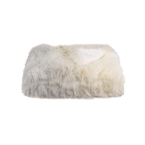 Tibetan Fur Throw - Ivory Grey Ombre