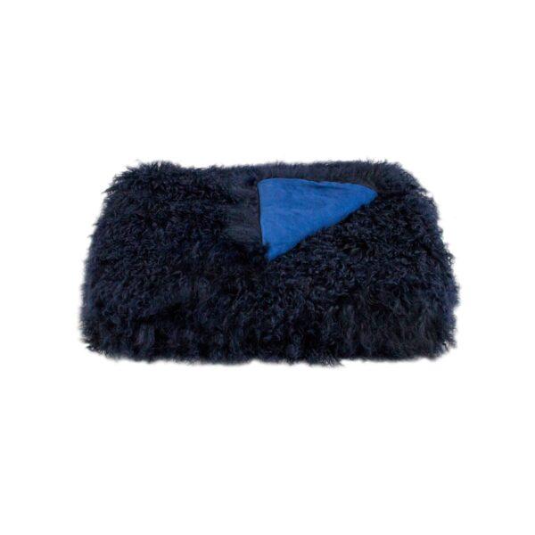 Tibetan Fur Throw - Navy