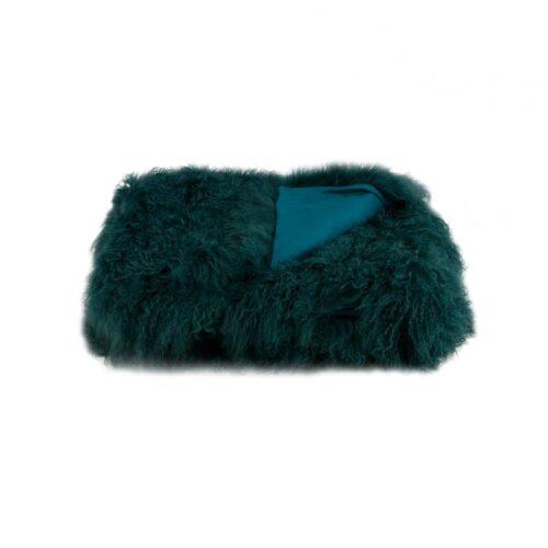 Tibetan Fur Throw - Peacock