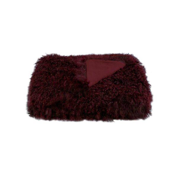 Tibetan Fur Throw - Plum