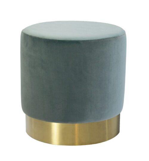 Milan Velvet Ottoman Small - Steel Blue